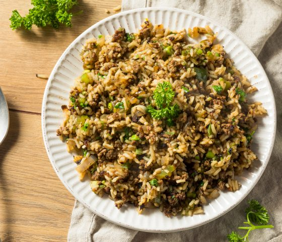 Potlatch Pilaf Stuffing with Apples, Walnuts, and Fried Shallots