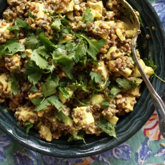Cold Curried Einka & Lentil Salad with Toasted Cashews