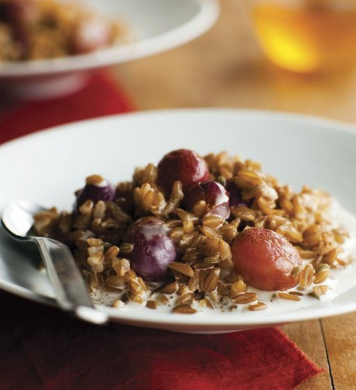 Creamy Farro with Honey-Roasted Grapes