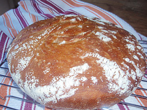 No Knead Crusty Emmer Bread