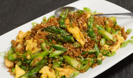 Fried Farro with Asparagus