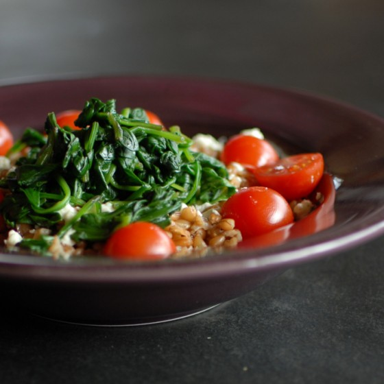 Warm Spinach and Farro Salad