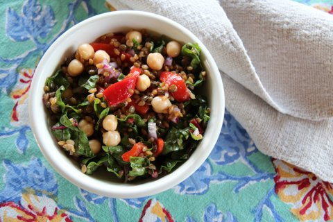 Farro with French Lentils, Chickpeas, Roasted Red Peppers & Swiss chard