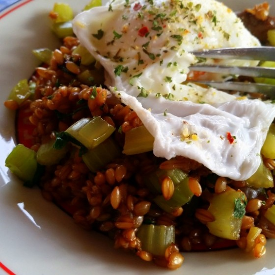 Einka & Vegetable Sauté with Poached Egg