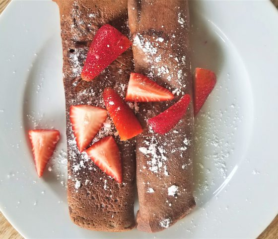 Chocolate Einkorn Crepes with Fresh Strawberries