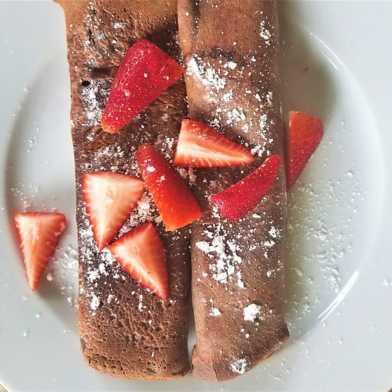 Chocolate Einkorn Crepes