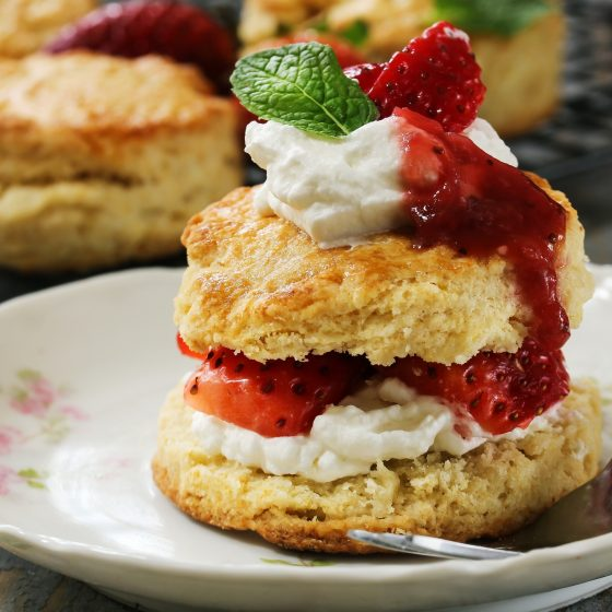 Strawberries and Einkorn Sourdough Biscuits
